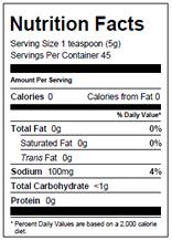 NutritionPanel_WingSauce_8oz